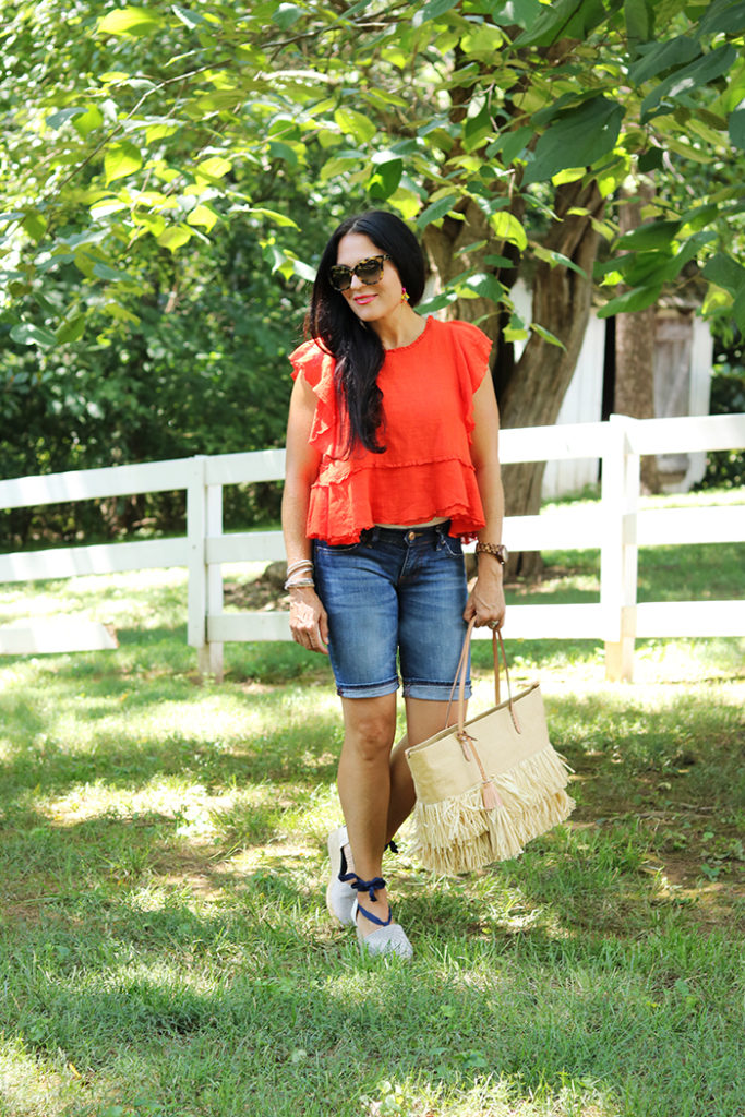 fourth of july barbecue outfit, fourth of july casual outfit, red white blue outfit, summer outfit, ruffle top, straw bag outfit, barbecue outfit, what to wear to a barbecue, what to wear to a picnic, fourth of july