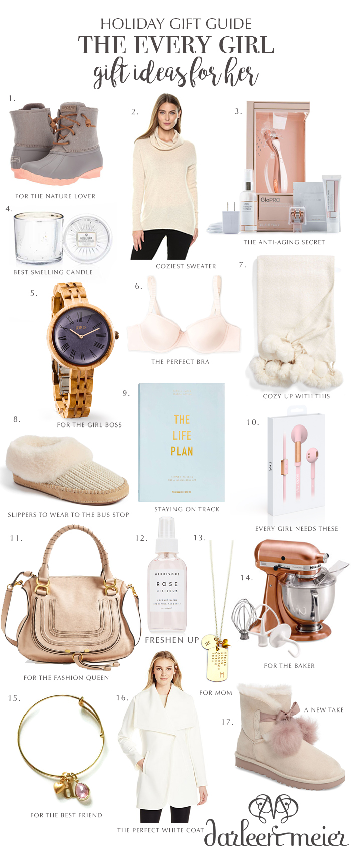 holiday gift guide 2017 for her, holiday gift ideas for the every girl, holiday for for nature lovers, for the bake, girl boss, fashion queen, fashion lover, holiday gift guide for mom, wire less headphones, sudio wireless, jord watches for women, girl gift guides, Christmas present ideas, glo pro anti aging