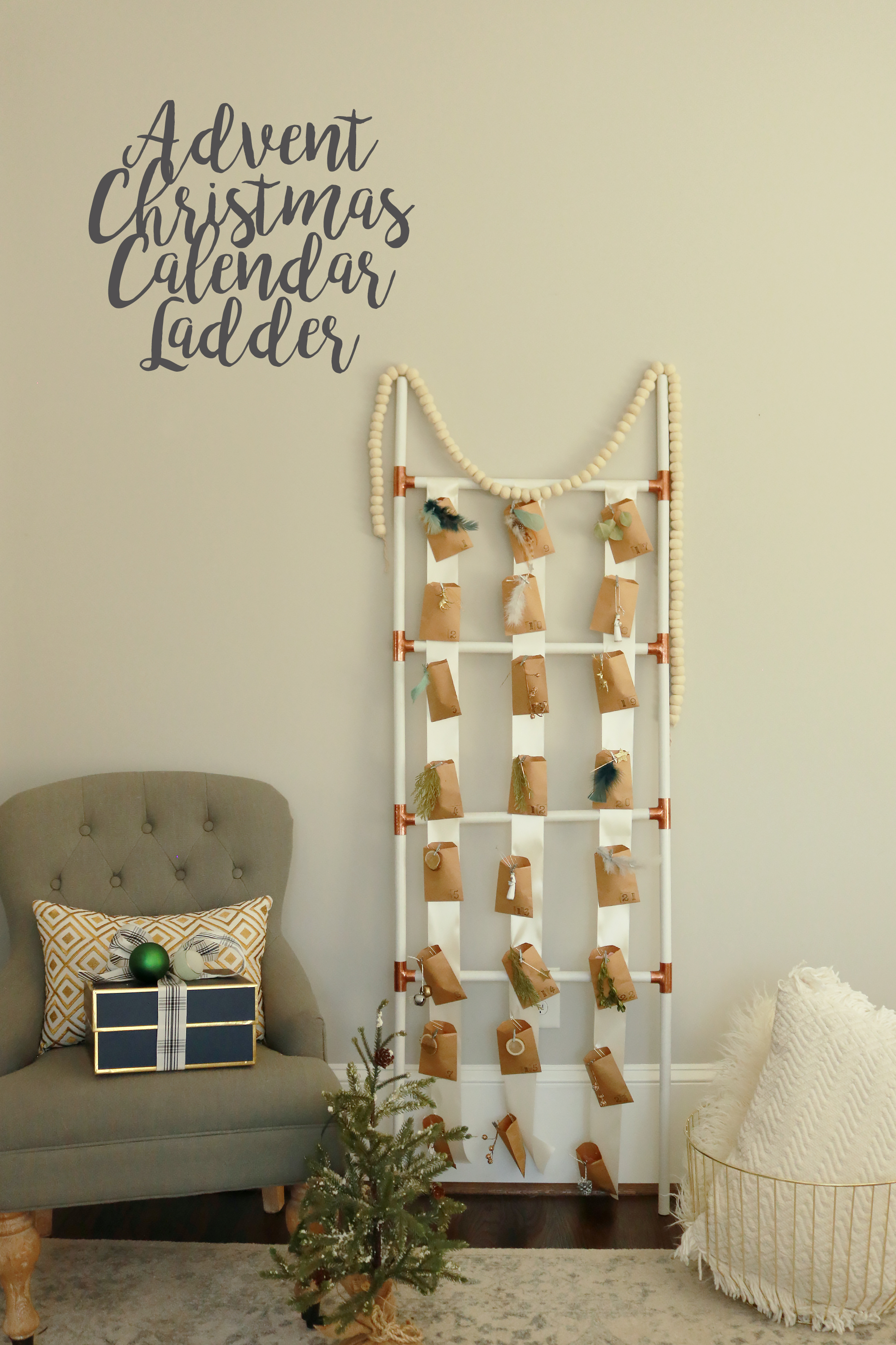 advent Christmas calendar ladder, advent calendar DIY, advent calendar for kids, Christmas calendar, twelve days of Christmas, Christmas things to do, Christmas activities