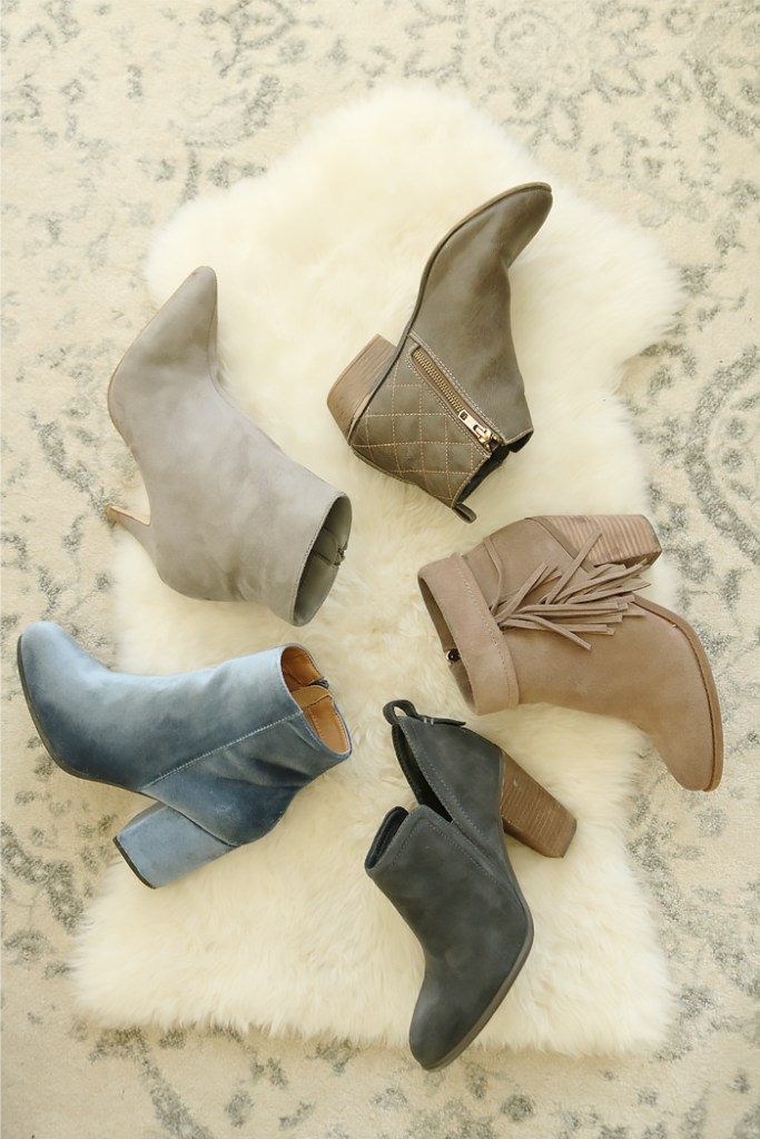bootie trend winter 2017 2018, ankle booties, how to wear booties, wear booties with jeans, wear booties with skirt, bootie outfit, favorite bootie, velvet, Vince camuto, Steve Madden