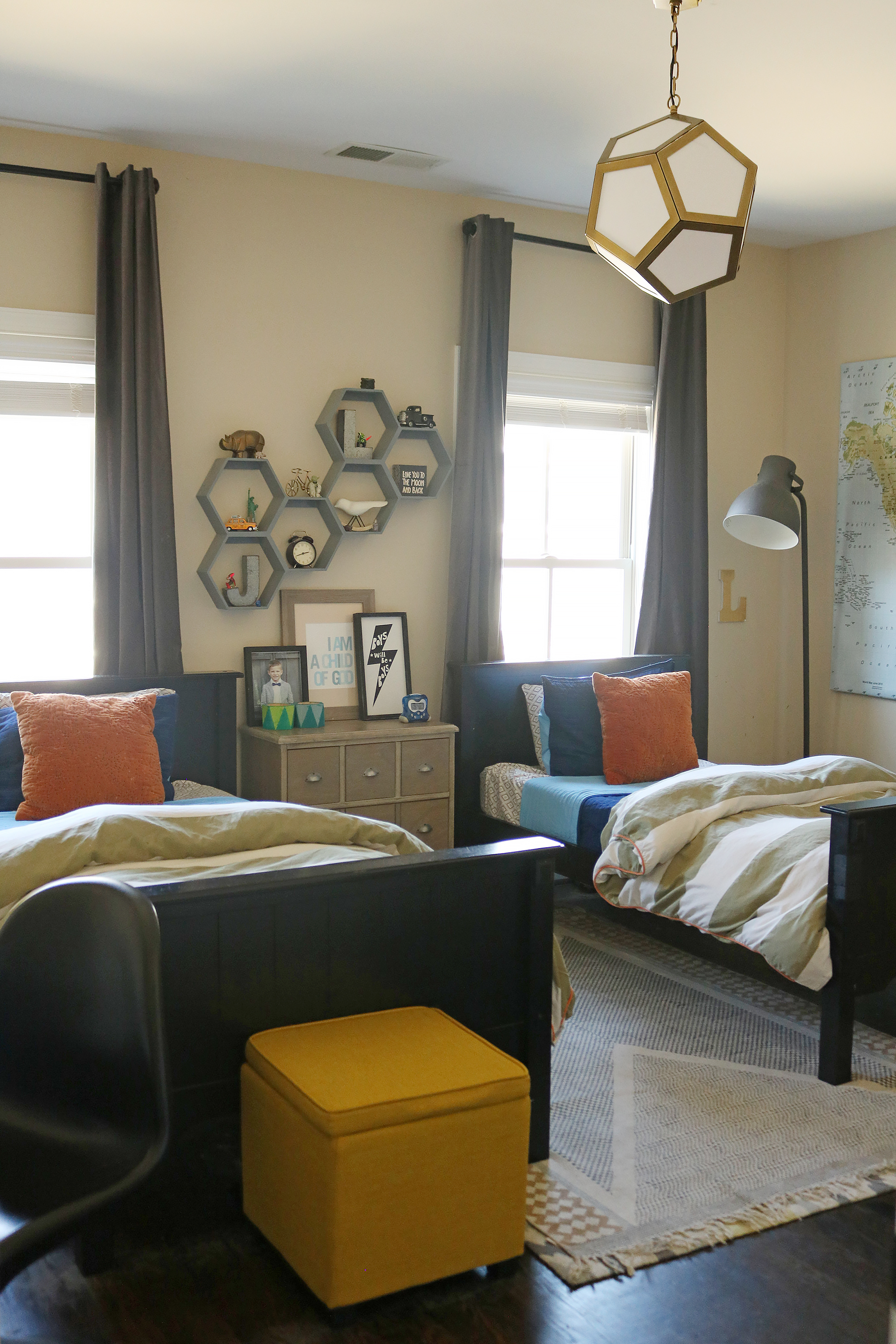 Maximize every space in a Shared Boy's Bedroom with budget-friendly ideas || Darling Darleen