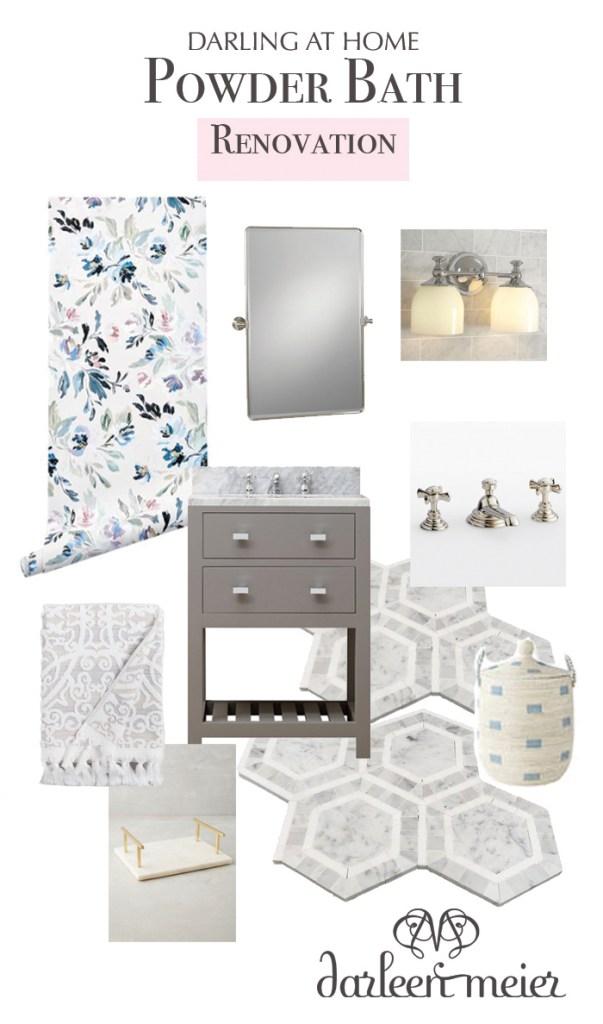Neutral Powder Bathroom Inspiration board with a feminine touch. || Darling Darleen