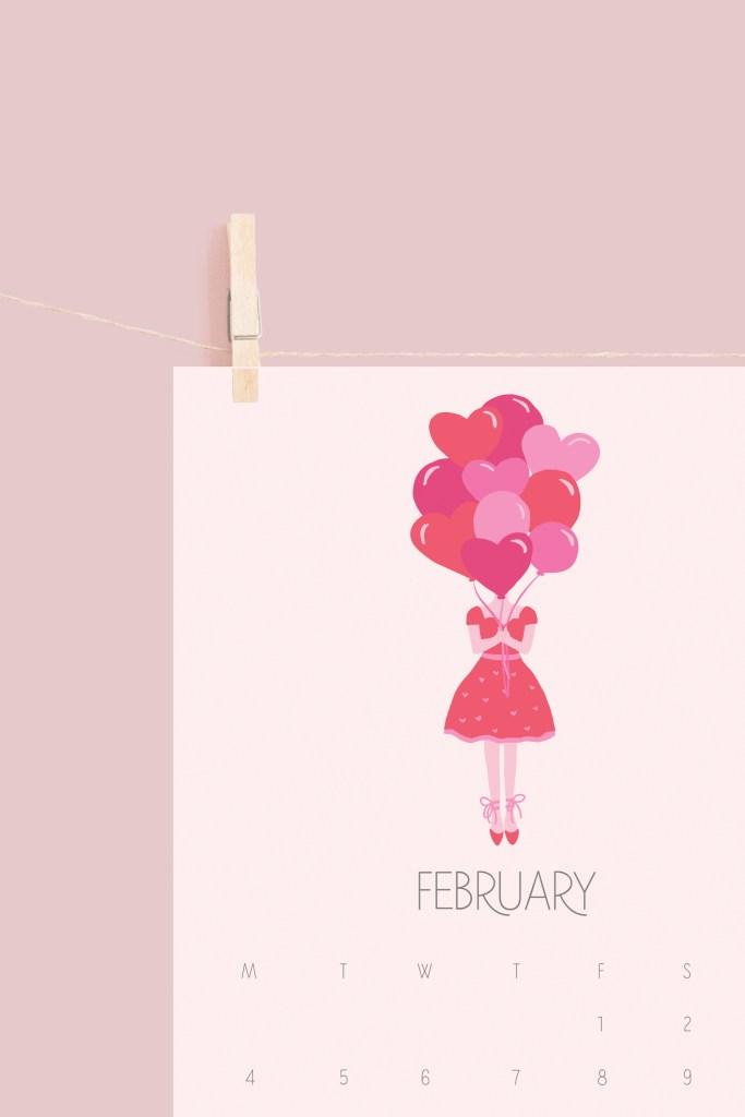 February Calendar free printable, fashion girl icon, free digital calendar, valentines theme calendar, february calendar, free printable, fashion sketch girl, heart balloons artwork, print valentines, calendar || Darling Darleen #freeprintable #freecalendar #digitalcalendar
