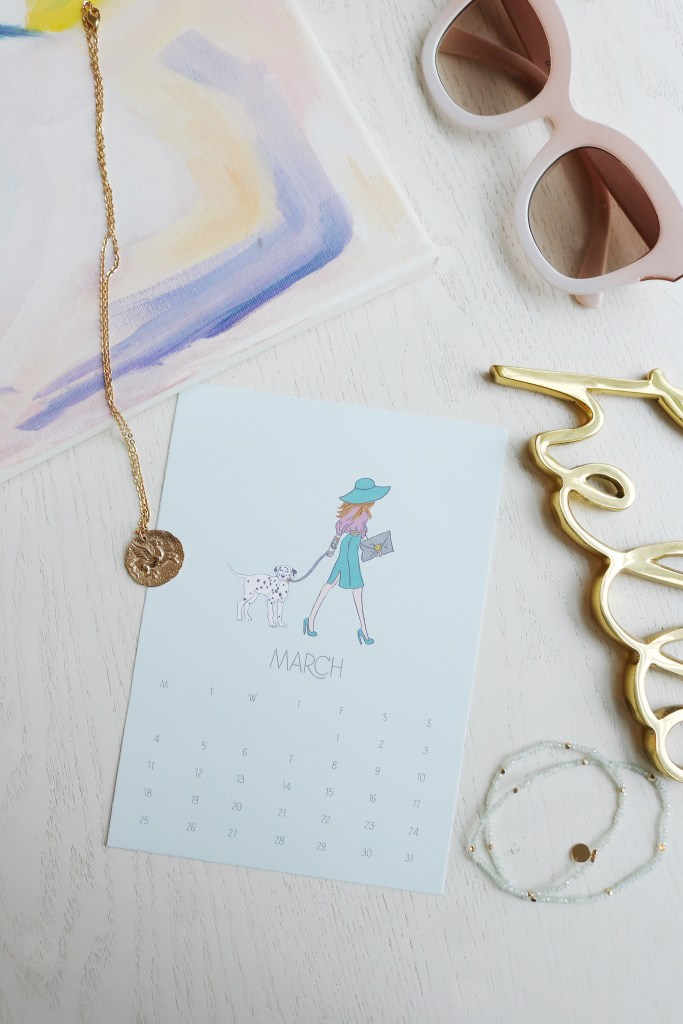 March 2019 Calendar printable FREE printable for desktop desk or digital desktop wallpaper, fashion girl calendar printable, free postcard or fashion girl print for artwork || Darling Darleen Blog #darlingdarleen #freeprintable #ondarlingdblog