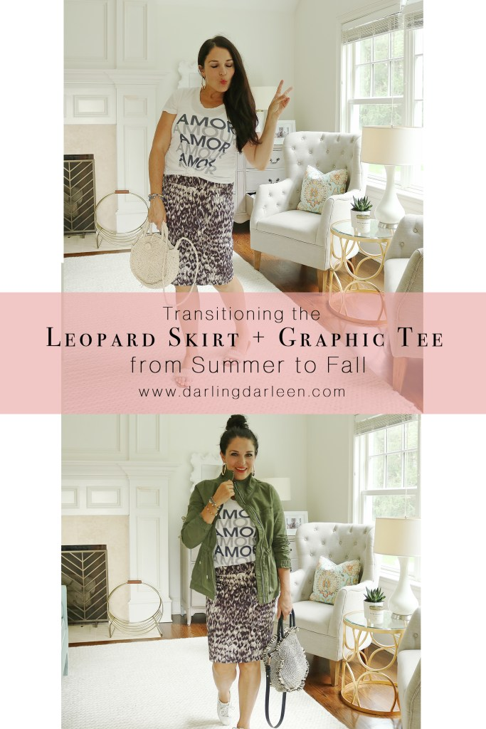 Transitioning the leopard skirt + graphic tee from summer to fall!  The perfect transitional stylish article of clothing to stay on trend this season.  Fall outfits trend with green cargo jacket  || DarlingDarleen.com #darleenmeier #darlingdarleen #falloutfits