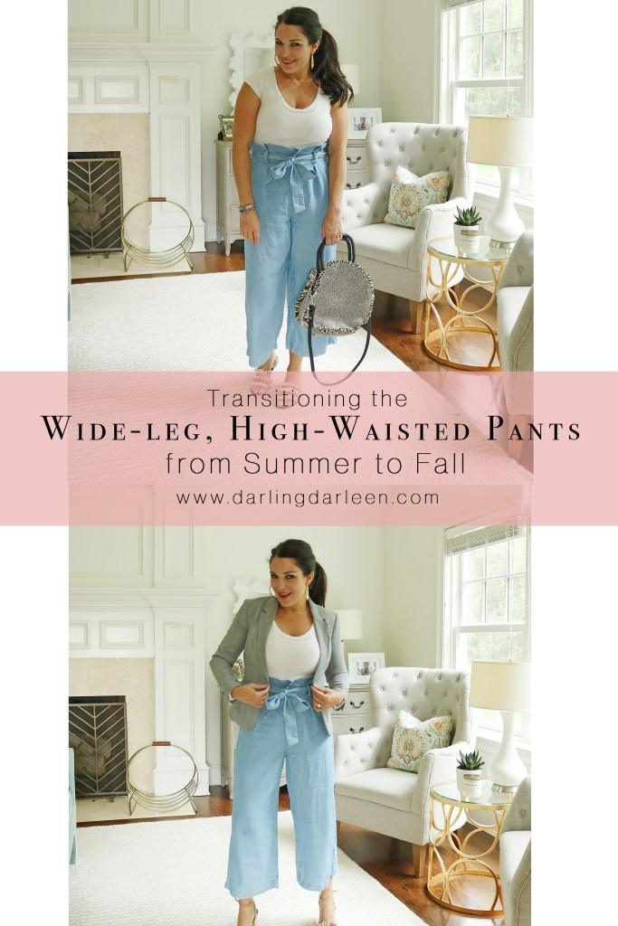 Transitioning the wide-leg, high-waisted loose fitting pants or culotte pants from summer to fall!  The perfect transitional stylish article of clothing to stay on trend this season.  Fall outfits trend.  || DarlingDarleen.com #darleenmeier #darlingdarleen #falloutfits