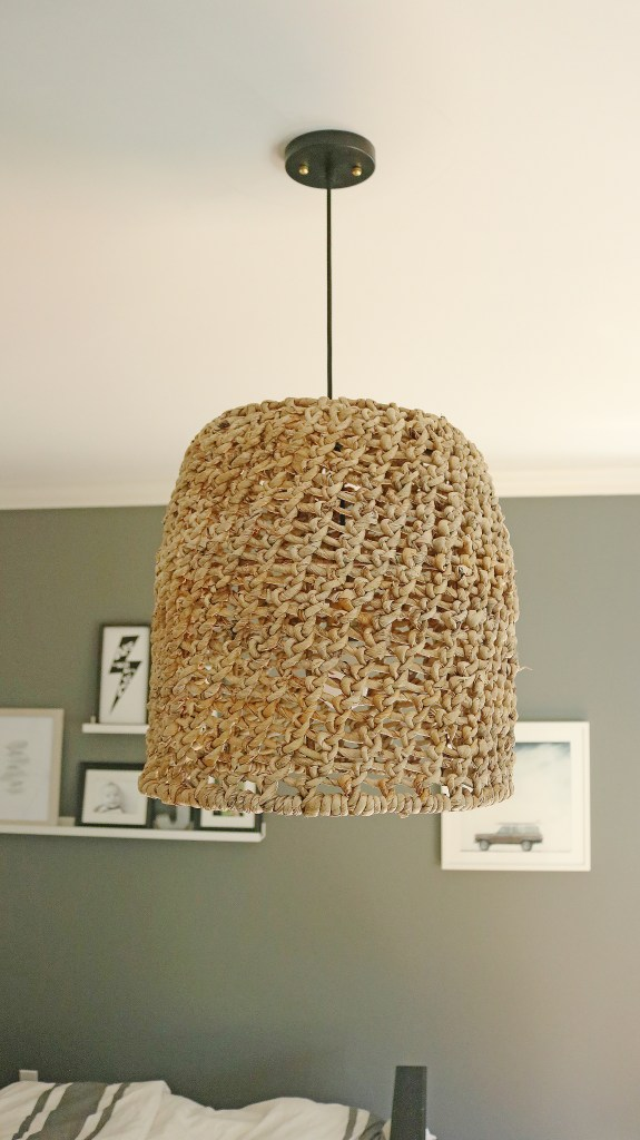 Easy DIY Basket Light Pendant for only $30 and 30 minutes of your time!  You'll have a designer basket pendant with a fraction of the price!  It will completely transform any bedroom with this DIY Basket Light Pendant|| Darling Darleen #diy