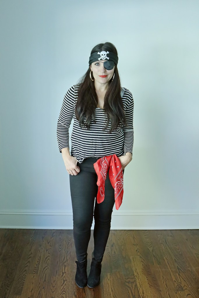 Grab Your Favorite Black and White Stripe Shirt for These 4 Easy Black and White Stripe Costume Ideas, mime costume, robber burglar costume, pirate costume || Darling Darleen
