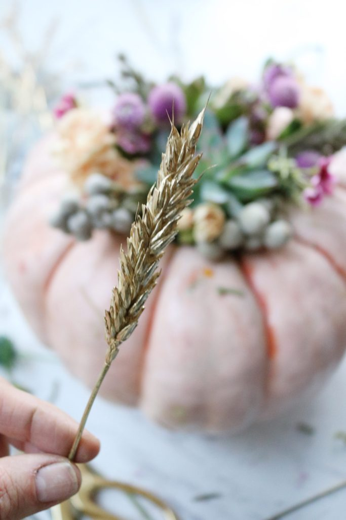 Pumpkin Succulent Flower Centerpiece with Gold Leaf for your Thanksgiving Table || Darling Darleen
