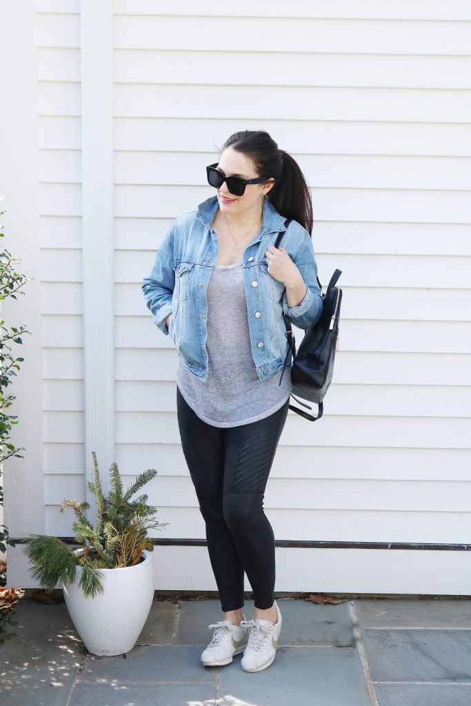 How to Style Denim Jean Jackets with these 4 Jean Jacket Outfit Ideas for an easy way to transition to spring | wearing jean jacket with leggings or jogger | Darling Darleen Top Lifestyle Blogger #jeanjacket #denimjacket #darlingdarleen #darleenmeier