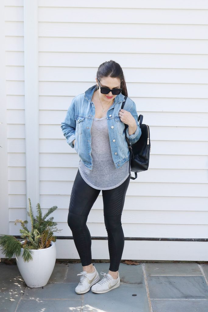 How to Style Denim Jean Jackets with these 4 Jean Jacket Outfit Ideas for an easy way to transition to spring   wearing jean jacket with leggings or jogger   Darling Darleen Top Lifestyle Blogger #jeanjacket #denimjacket #darlingdarleen #darleenmeier