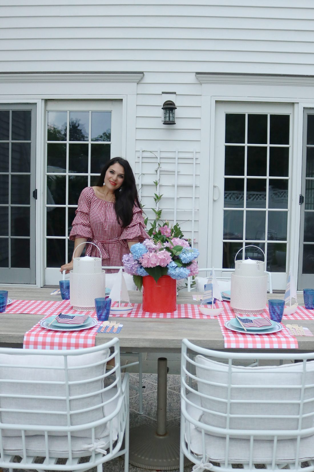 This year host a 4th of July barbecue party and sharing simple budget-friendly decorating tips, 4th of July outfit, red gingham dress, 4th of July entertaining tips, american flag decorations  || Darling Darleen Top CT Lifestyle Blogger #4thofjuly #4thofjulyoutfit
