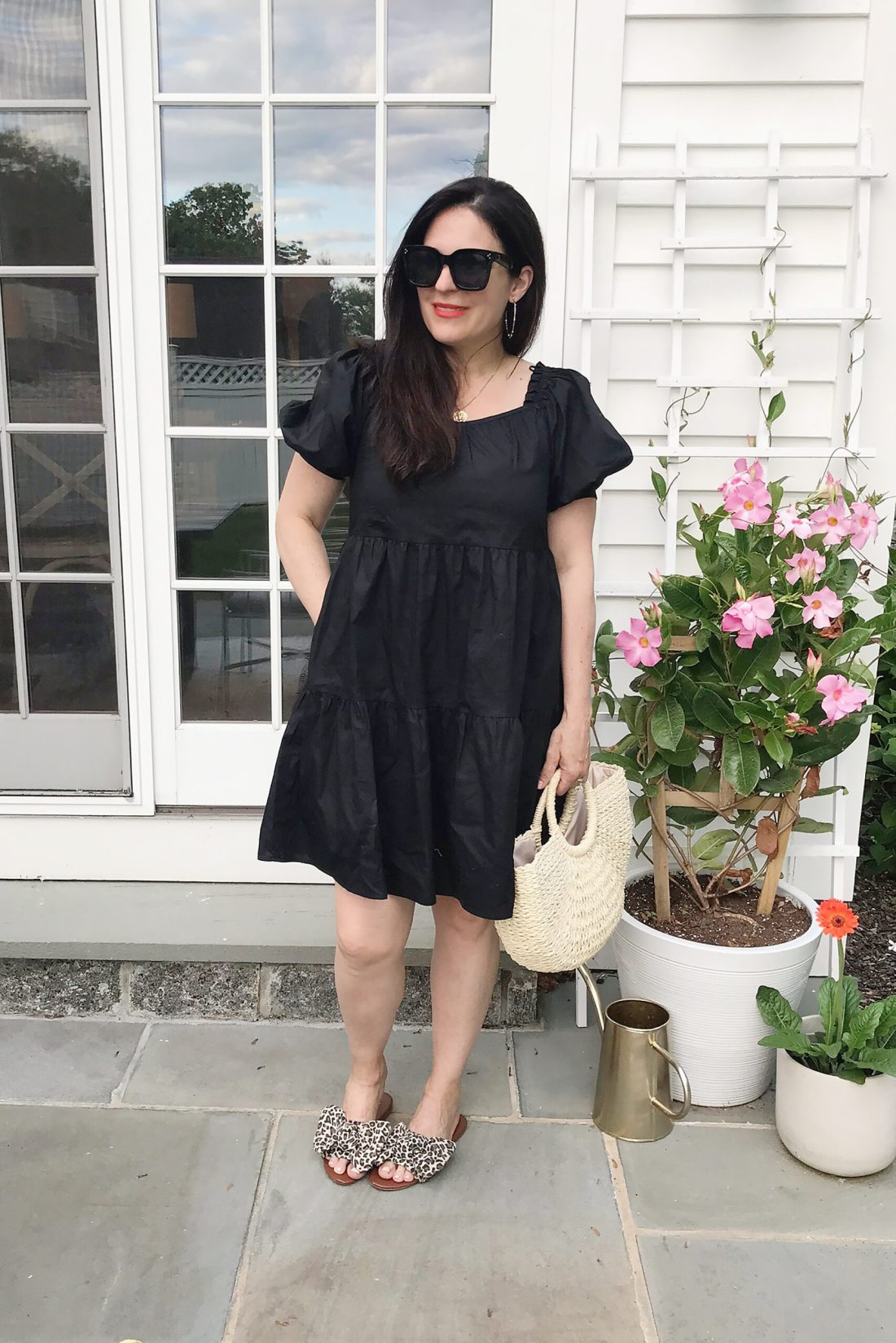Obsessed with these leopard slide sandals and this casual black dress || Darling Darleen Top CT Blogger