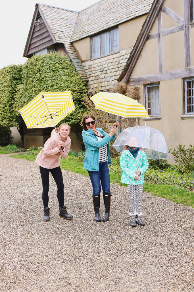 Exploring Topsmead State Forest and the beautiful Tudor-style country home with these two ladies, and dressed in our spring rain jackets to stay dry.
