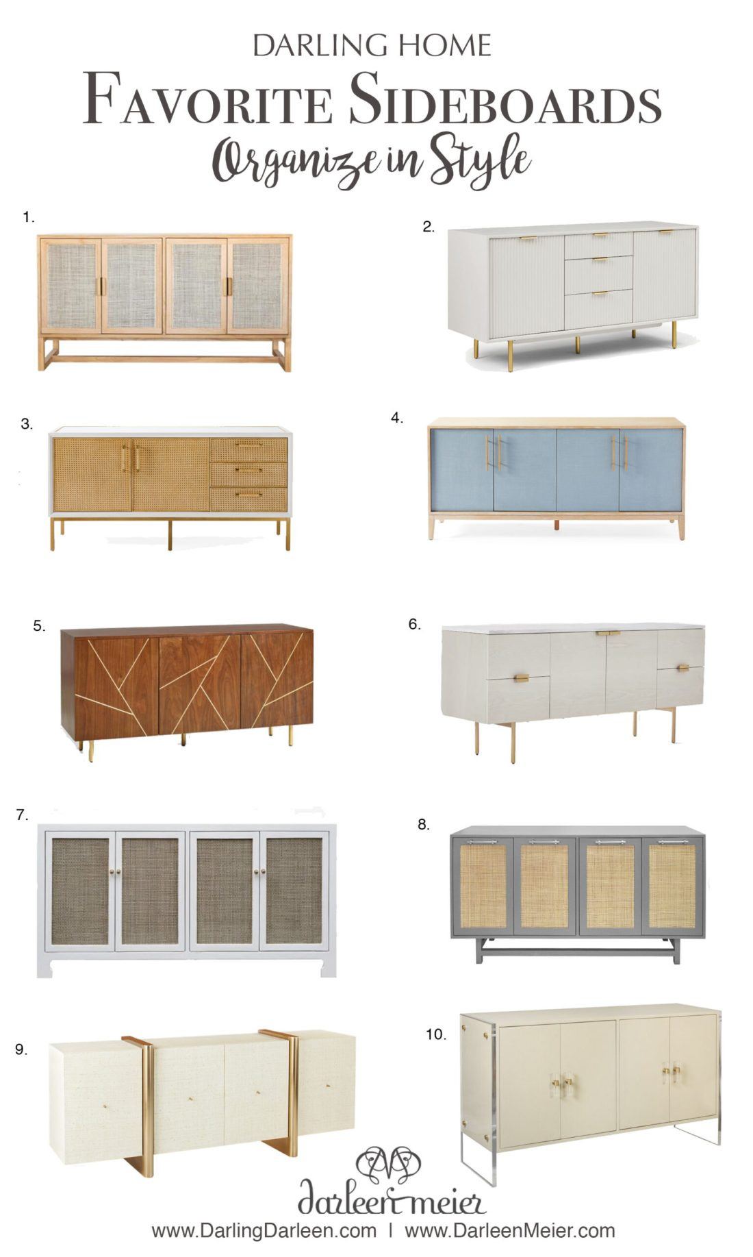 10 Favorite Buffet Sideboard cabinet credenza console that will provide table top styling and a place to organize your home items.  || Darling Darleen