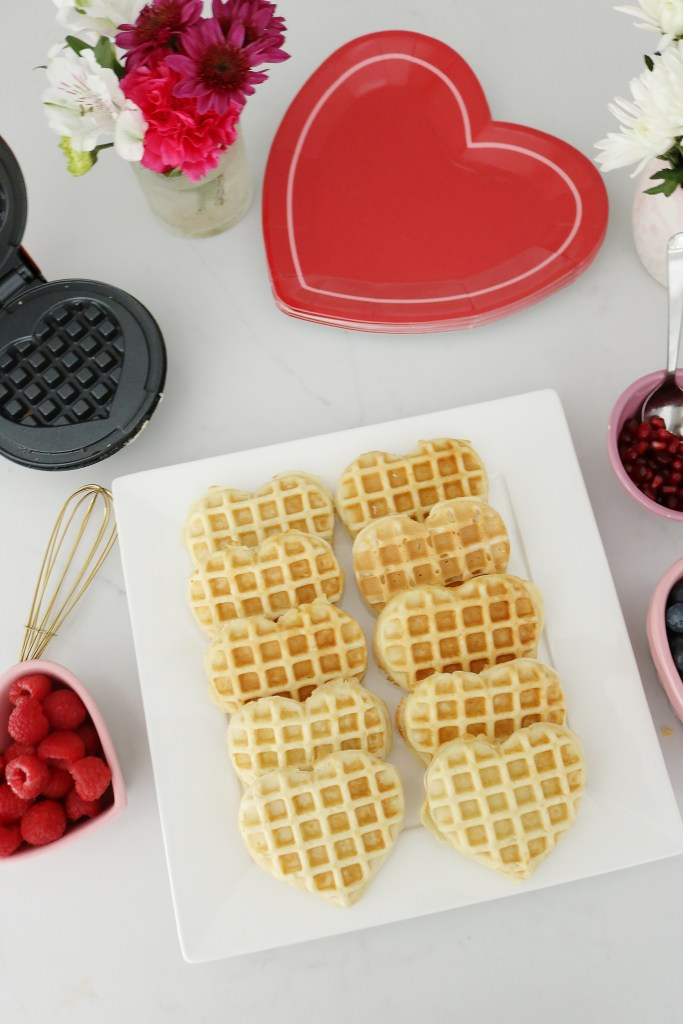 Bring Valentine's Day Home this year!  Start off with a Waffle bar or a Breakfast of Hearts!  So many fun Valentine's Day breakfast ideas.  || Darling Darleen Top Lifestyle Blogger #ctblogger #darlingdarleen #valentinesday