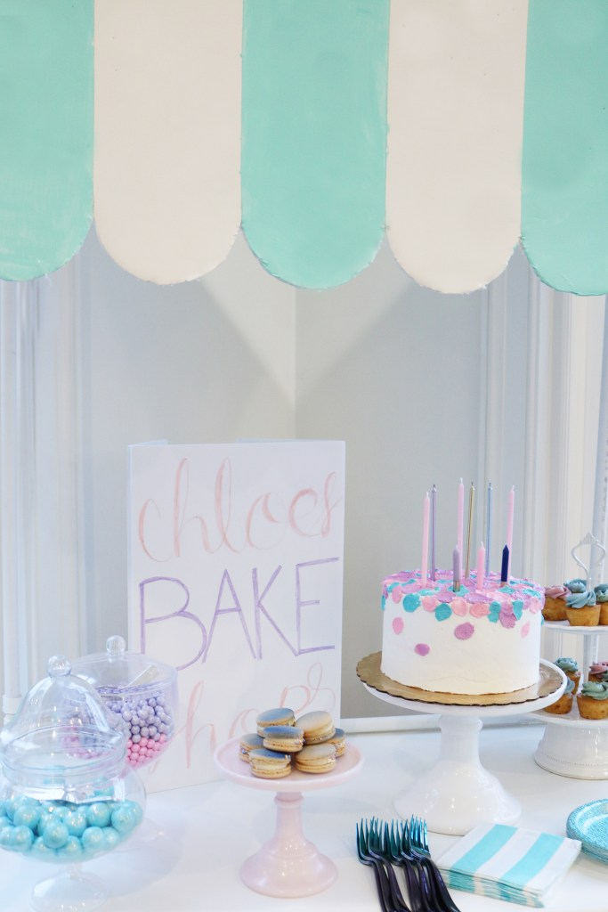 At-Home Cake Decorating Party/ Bake Shop Sign--easy tips, techniques, supplies and lots of sweets!  You don't have to be a cake decorator to make a pretty cake!  || Darling Darleen Top Lifestyle Blogger #darlingdparties #darlingdarleen #cakedecorating