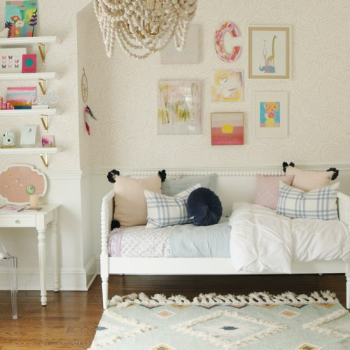 Light Blue pink Girls Bedroom