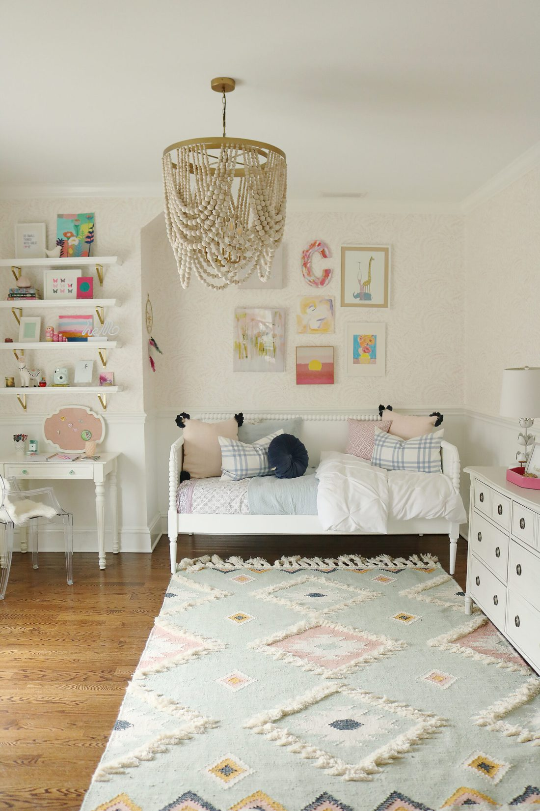Light Blue Pink Girls Bedroom that mixes textures and art pieces.  It's playful and charming girl's bedroom.  Before and after bedroom, pastel colors girl bedroom, tween girl bedroom, Serena and lily priano wallpaper, reading corner, anthropologie chair || Darling Darleen Top CT Lifestyle Blogger #girlsbedroom