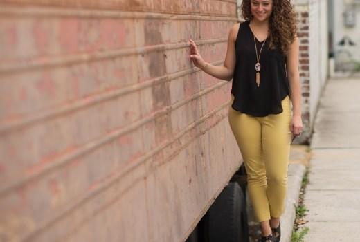 Gap Gold Pants, Nordstrom Black Hi-Lo Tank, Tassel Necklace