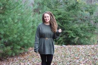 Green oversized sweater, tartan plaid scarf, booties
