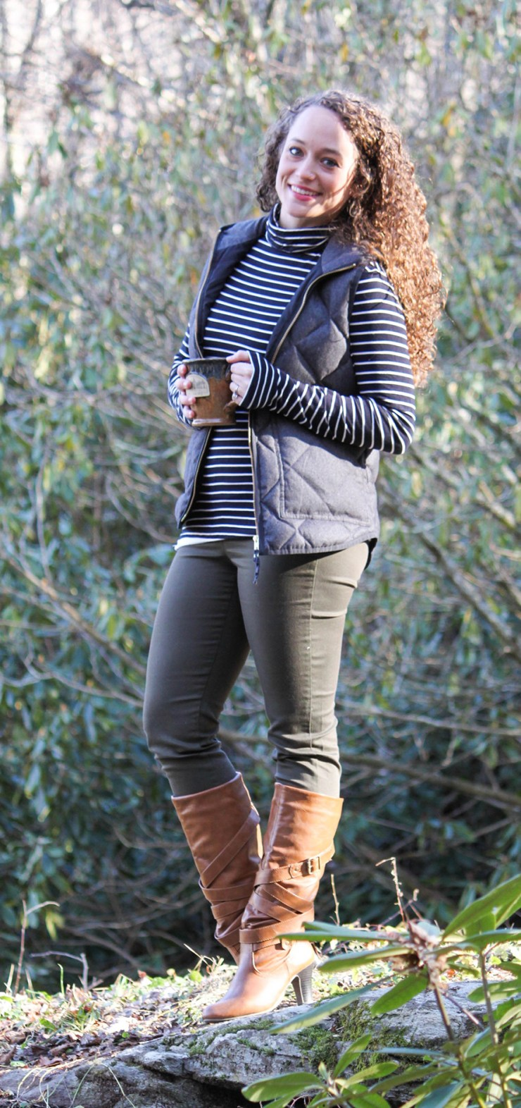 Gray Vest, Striped Turtleneck, Olive Green Pants, and Cognac boots