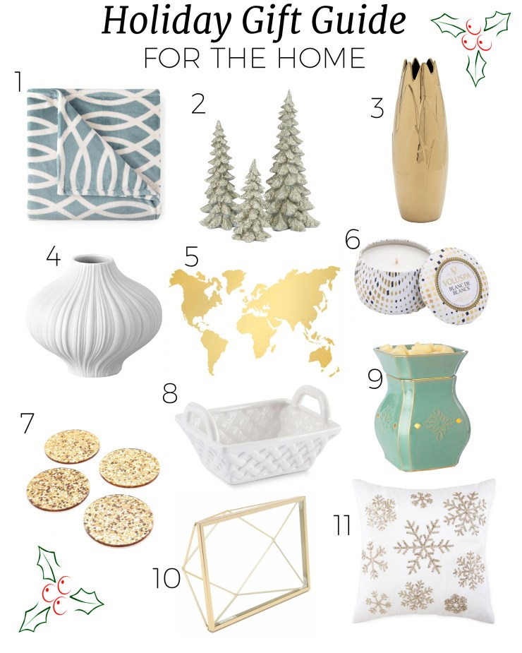 holiday gift guide for the home, great for hostessess and family members