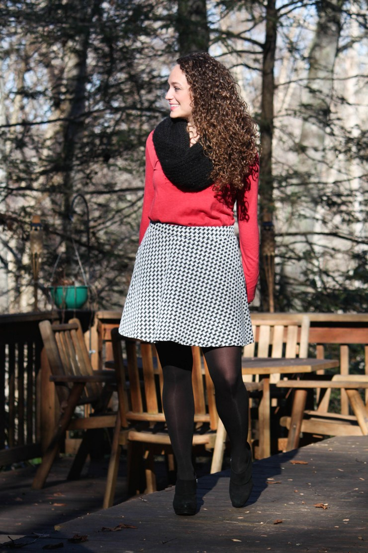 black and white skirt, red shirt, black tights and booties