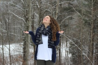 navy nordic scarf, navy cardigan, olive green pants, black boots