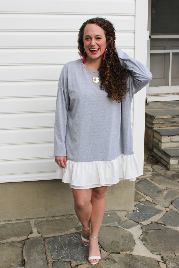 shein grey dress with white ruffles