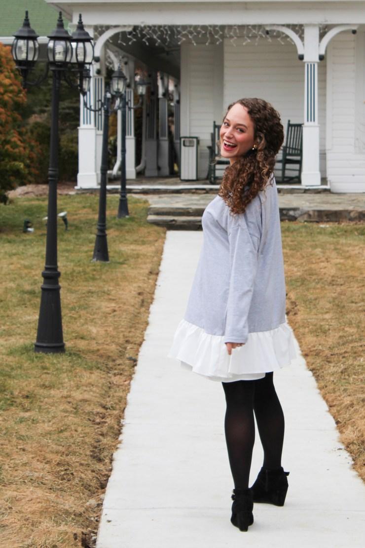 shein grey dress with white fringe