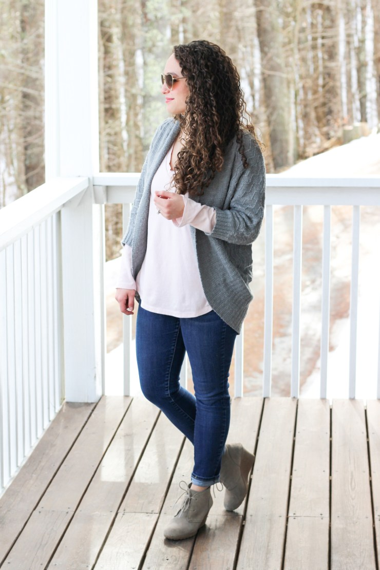 Gray anthropologie cardigan, old navy pink shirt, heart sunglasses