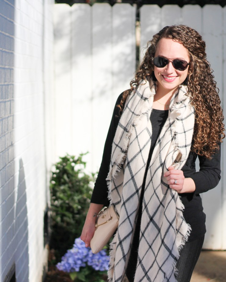 Black and white grid scarf