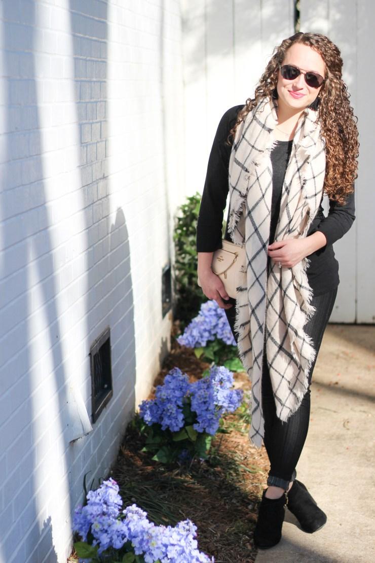 monochromatic blanket scarf look