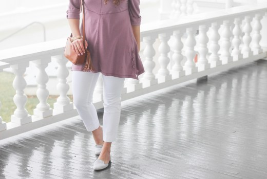 Turtle Toes Lavender Tunic and White Cropped Pants
