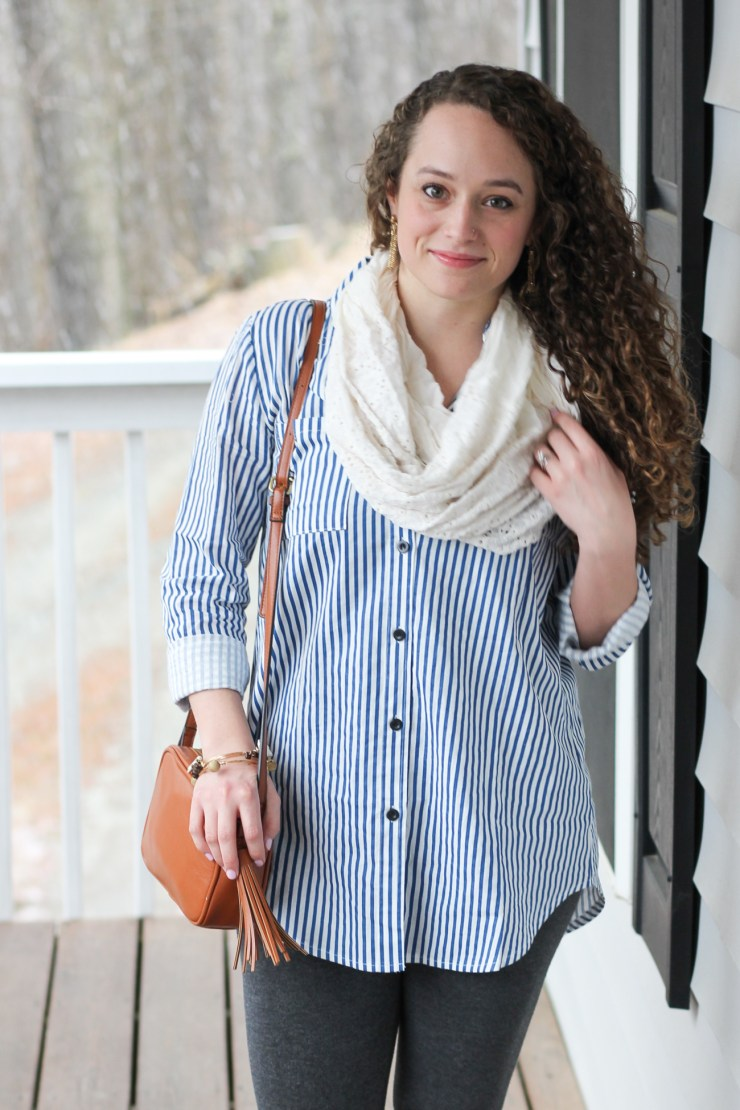 Romwe Blue Striped Shirt