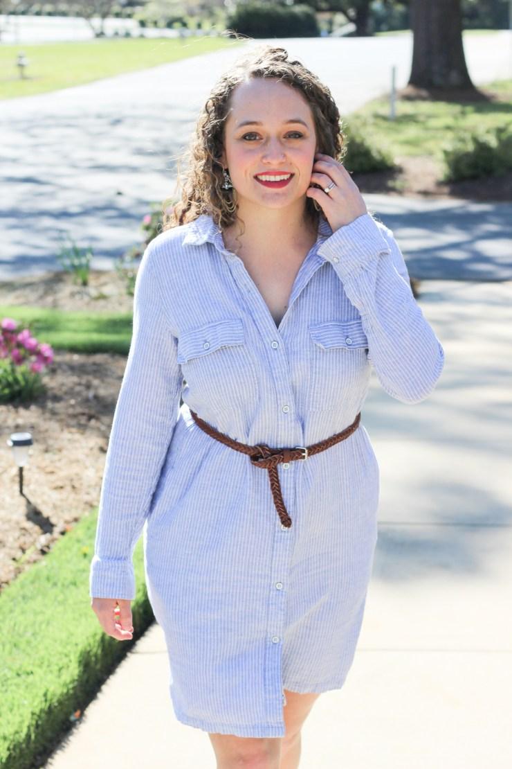 Old Navy Pinstripe Shirt Dress