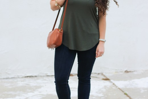 Old Navy scoop neck tank, dark denim jeans, and cognac mules