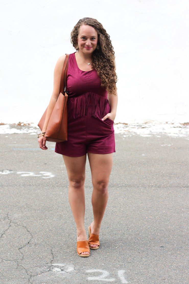 suede romper with a fringe waist, cognac mules