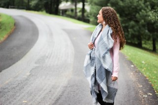 blush cotton dress with a gray and white blanket scarf