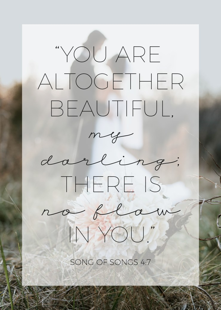 you are altogether beautiful, my darling, there is no flaw in you, song of songs 4:7, bible verse, christianity, christian, relationship with god