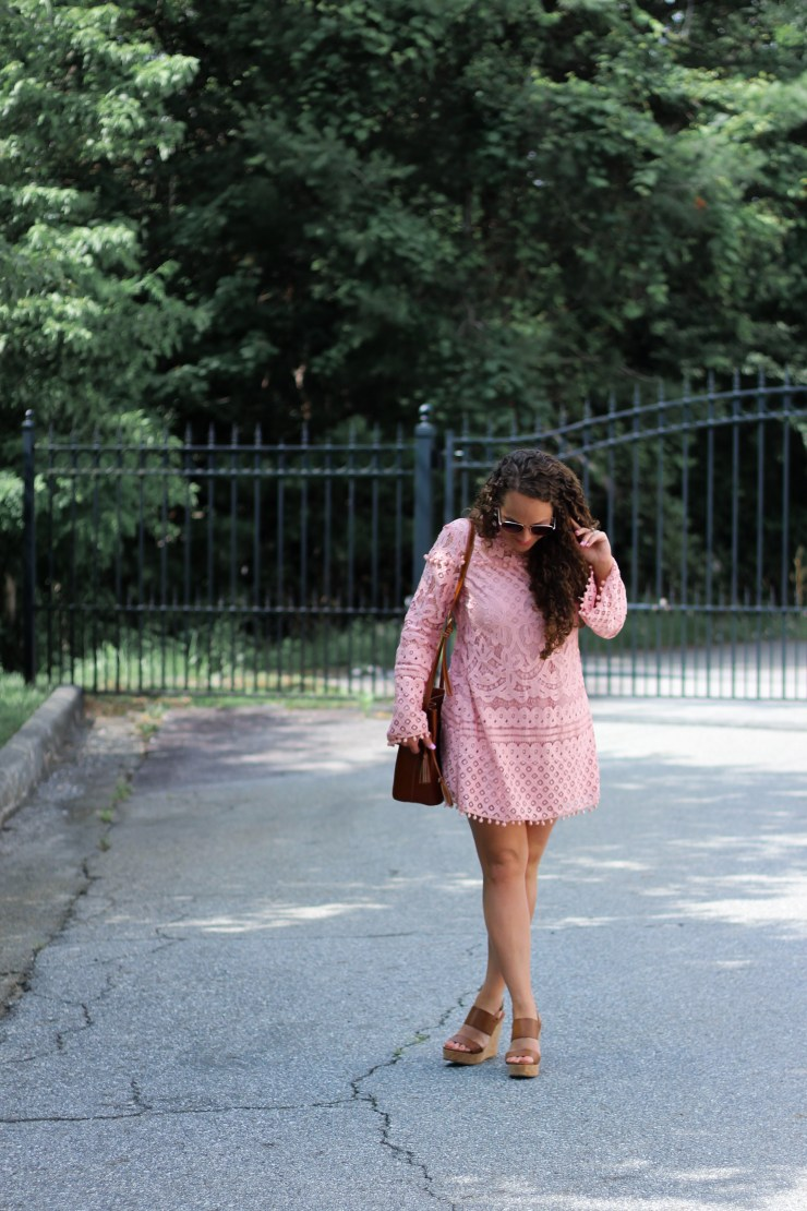 pink lace and pom pom dress, bridal shower dress, what to wear to a wedding