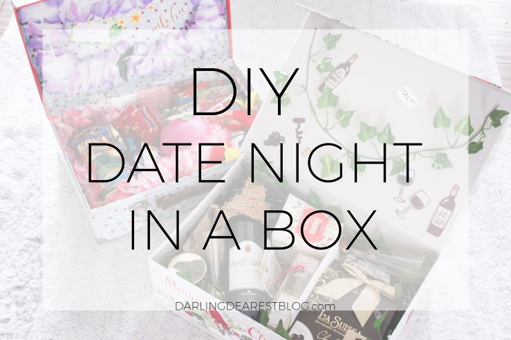 diy date night in a box, how to make your on stay at home date night, date night in, christmas gift, bridal shower gift, wedding gift, new parent gift, baby shower gift, way to remember your honeymoon, date night with kids