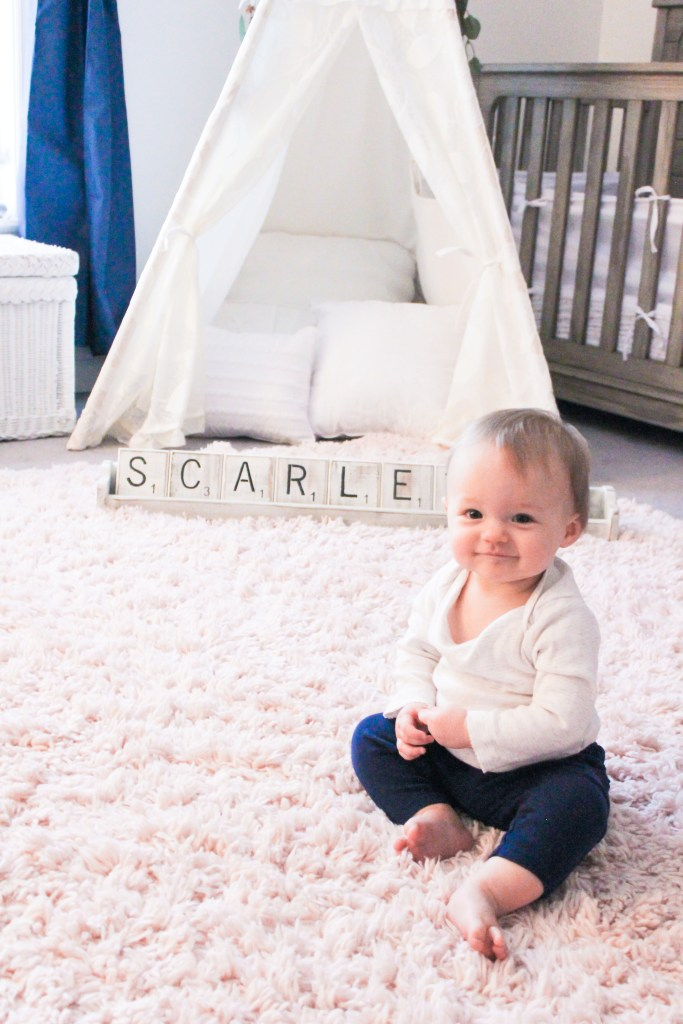 nursery statement piece, nursery name decor, scrabble name, nursery decor, home decor, welcome some, wood work, small business, homemade, girl nursery, nursery inspiration, nursery design, scarlett sign, name sign