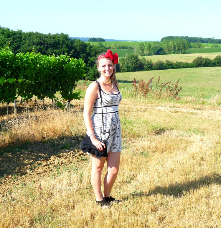 Gers, vin, vignoble, vigne, fashion, ruban rouge, serre tete, headband, noeud,sac mango12