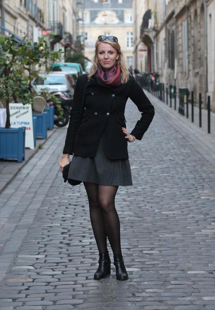 robe mademoiselle R, veste mango, echarpe, sac à main, bordeaux, chaussures bocage 10