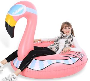 Inflatable Flamingo Snow Tube on Amazon