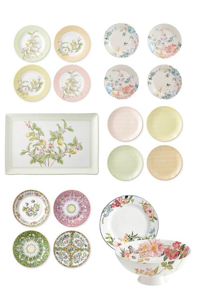 A collection of floral dinnerware and serving ware from various retailers.