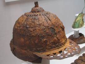 This iron helmet illustrates the skill of iron-working and importance of iron from the Nakdong River valley.