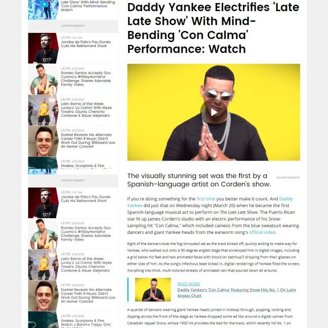 Billboard - Daddy Yankee @ James Corden